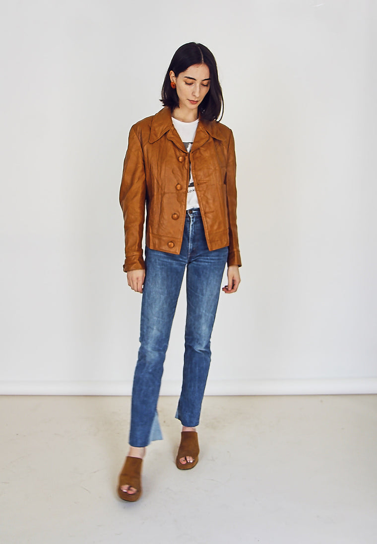 Vintage 70s Caramel Leather Jacket