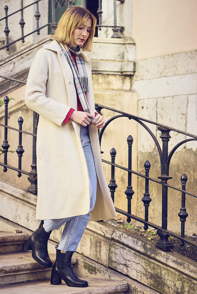 Vintage 90s Washed Wool Cream Coat