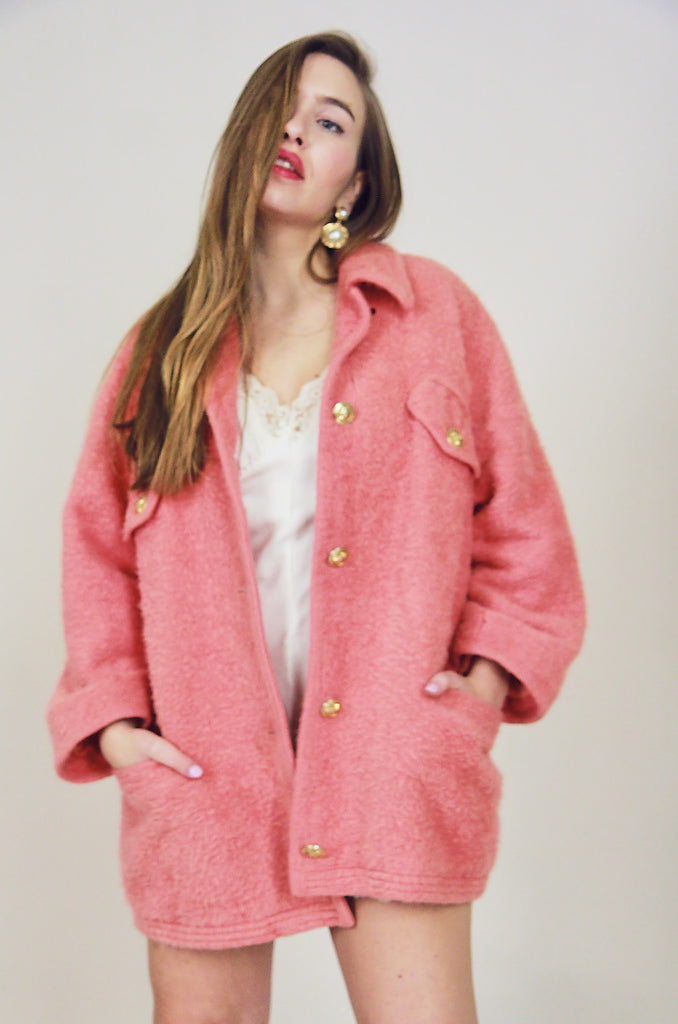 Versace Peach Mohair Mix Wool Coat