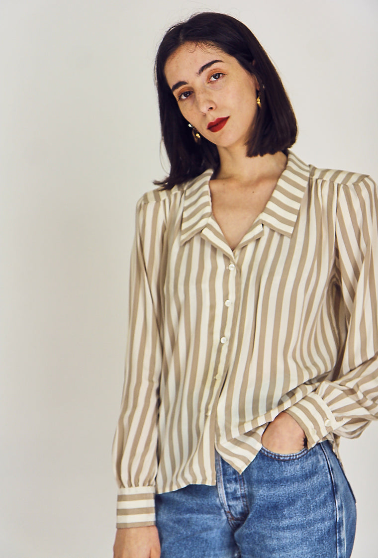 90's Blue Silky Button Up Blouse