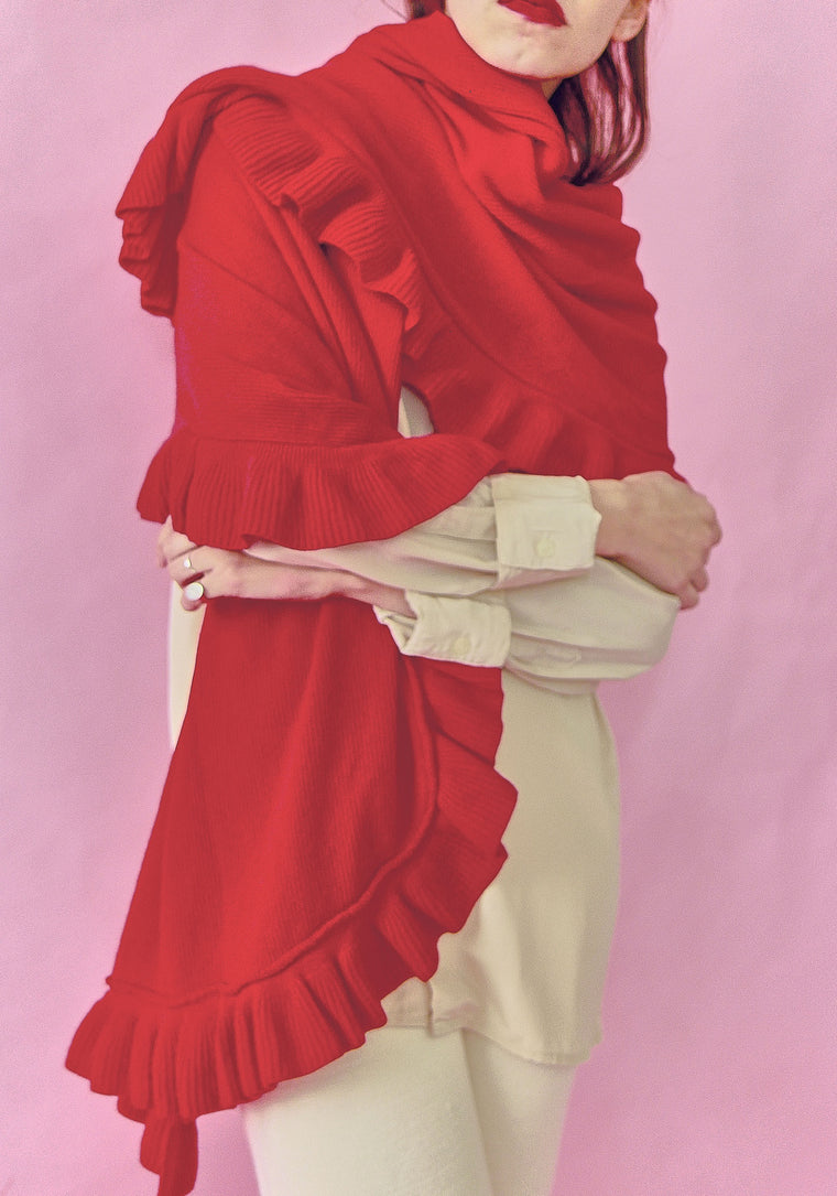 Red Wool Large Ruffle Scarf
