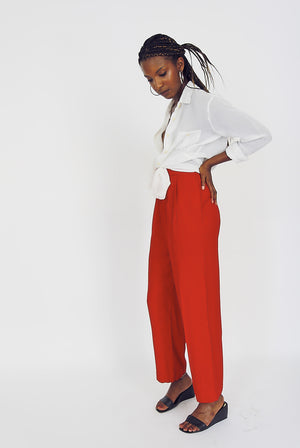 Vintage Red High-Waisted Tailored Trousers