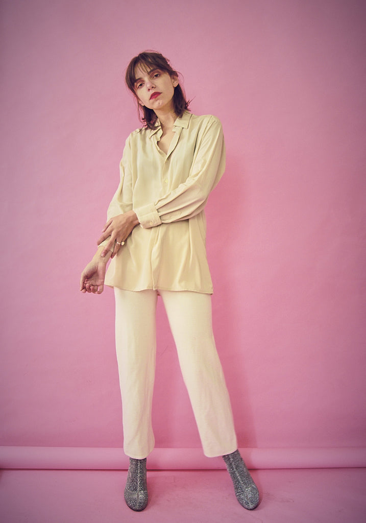 90s Cream Wool Trousers