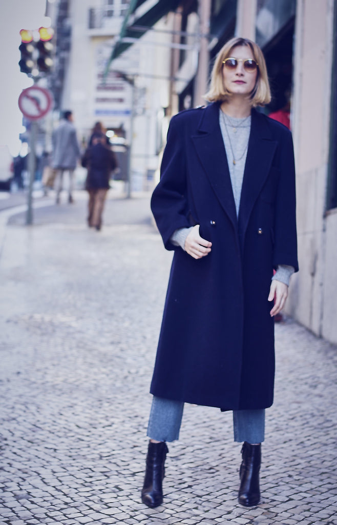 Vintage 90s Wool Mix Navy Coat