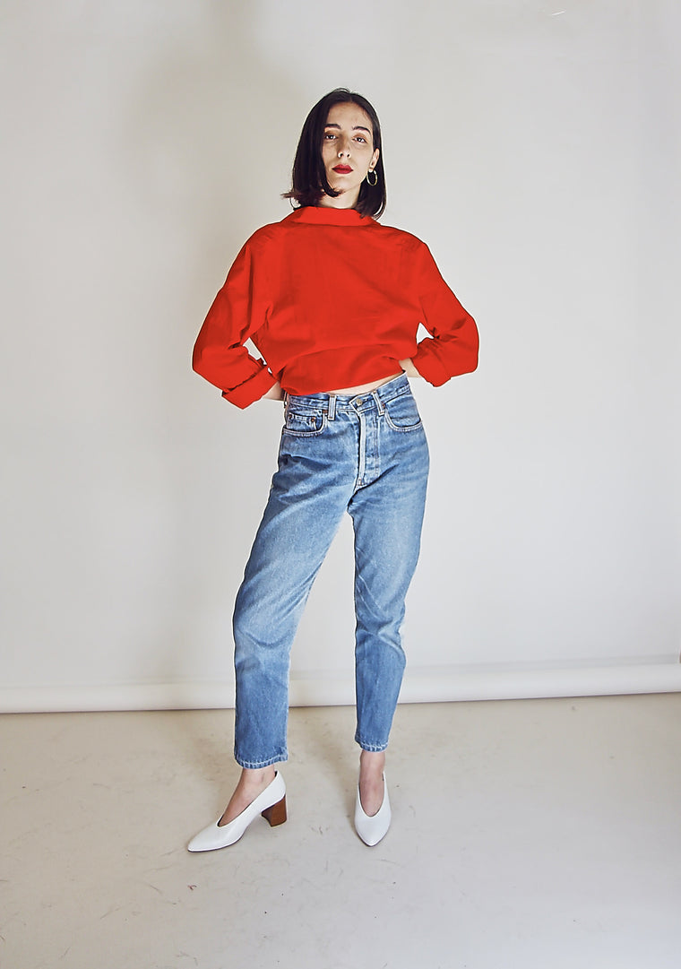 80's Vintage Red Cotton Shirt