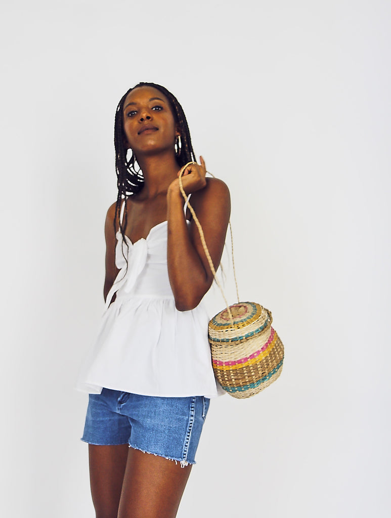 Rounded Woven Palm Basket Bag