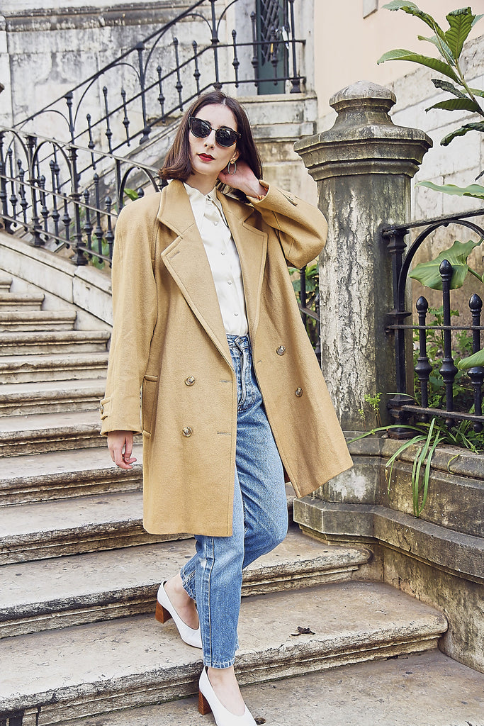 Vintage 70s Oversized Camel Wool Tailored Coat