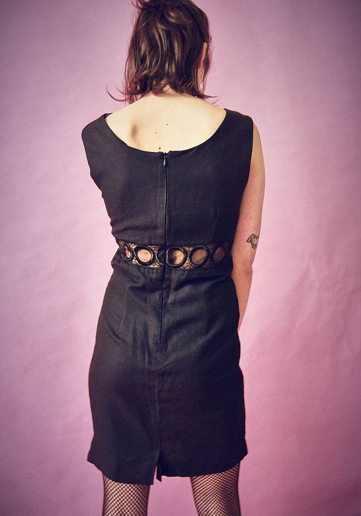 90's Black Cut-Out Shift Dress.