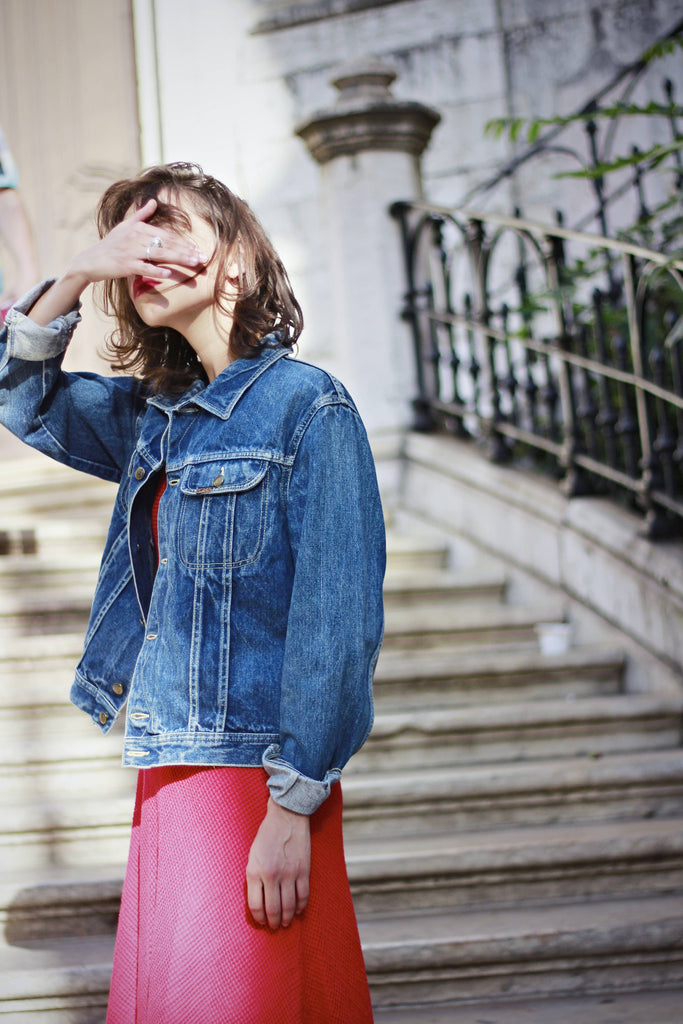90s Lois Dark Wash Cropped Denim Jacket