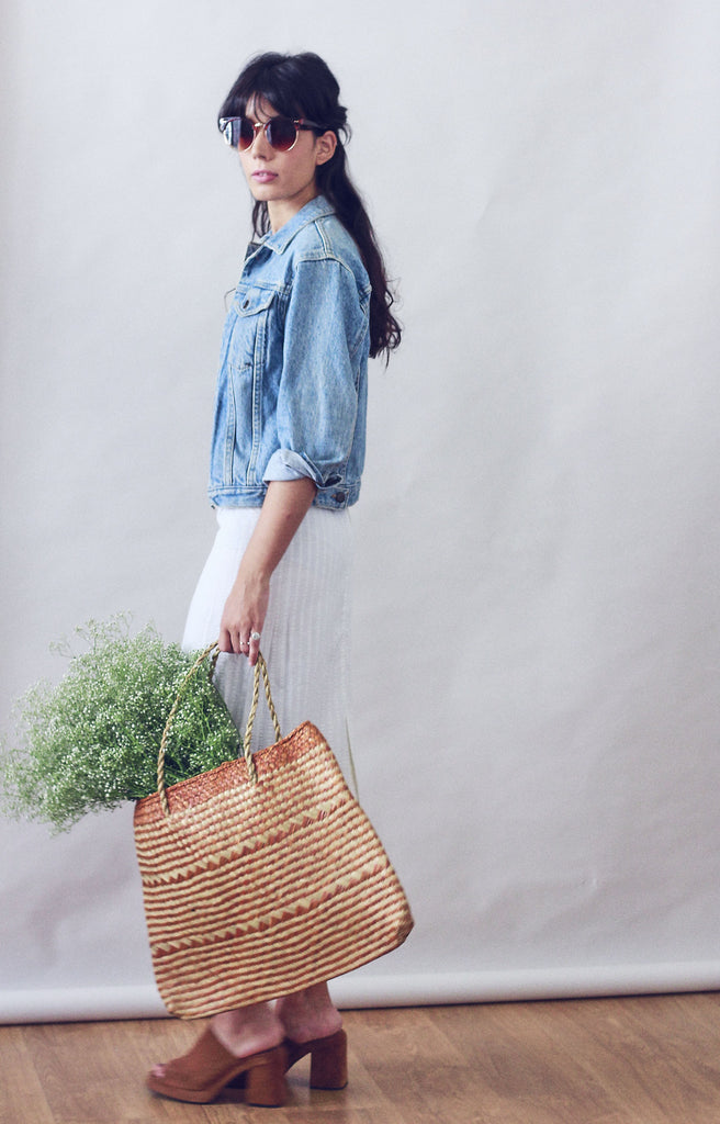 Natural/Tan Straw Woven Basket Bag