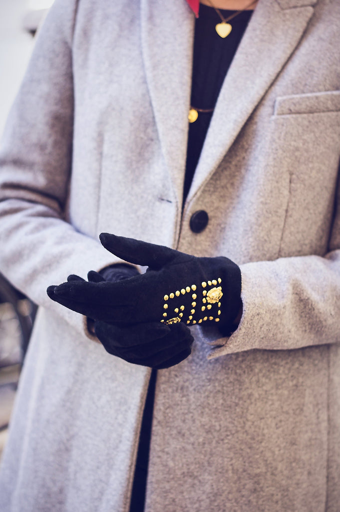 Vintage 80s Suede Embellished Gloves