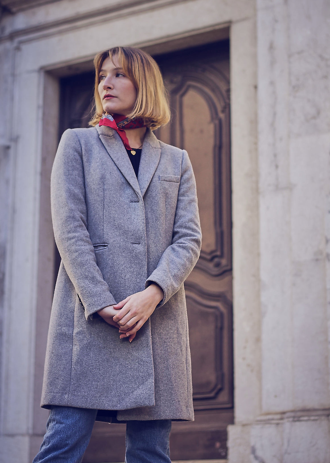 Wool Grey Pea Coat