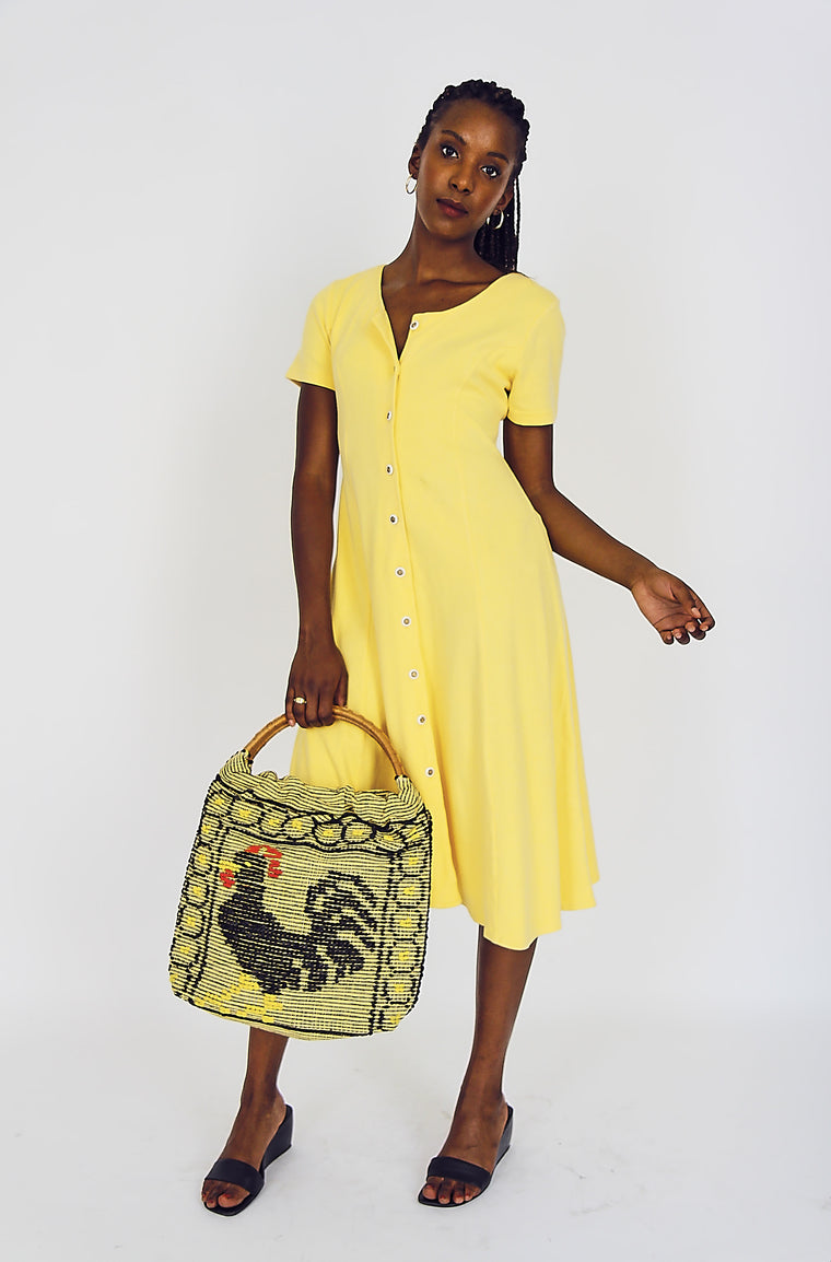 90s Mellow Yellow Cotton  Dress
