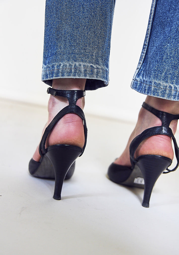 90s Leather Pointed Toe Mules