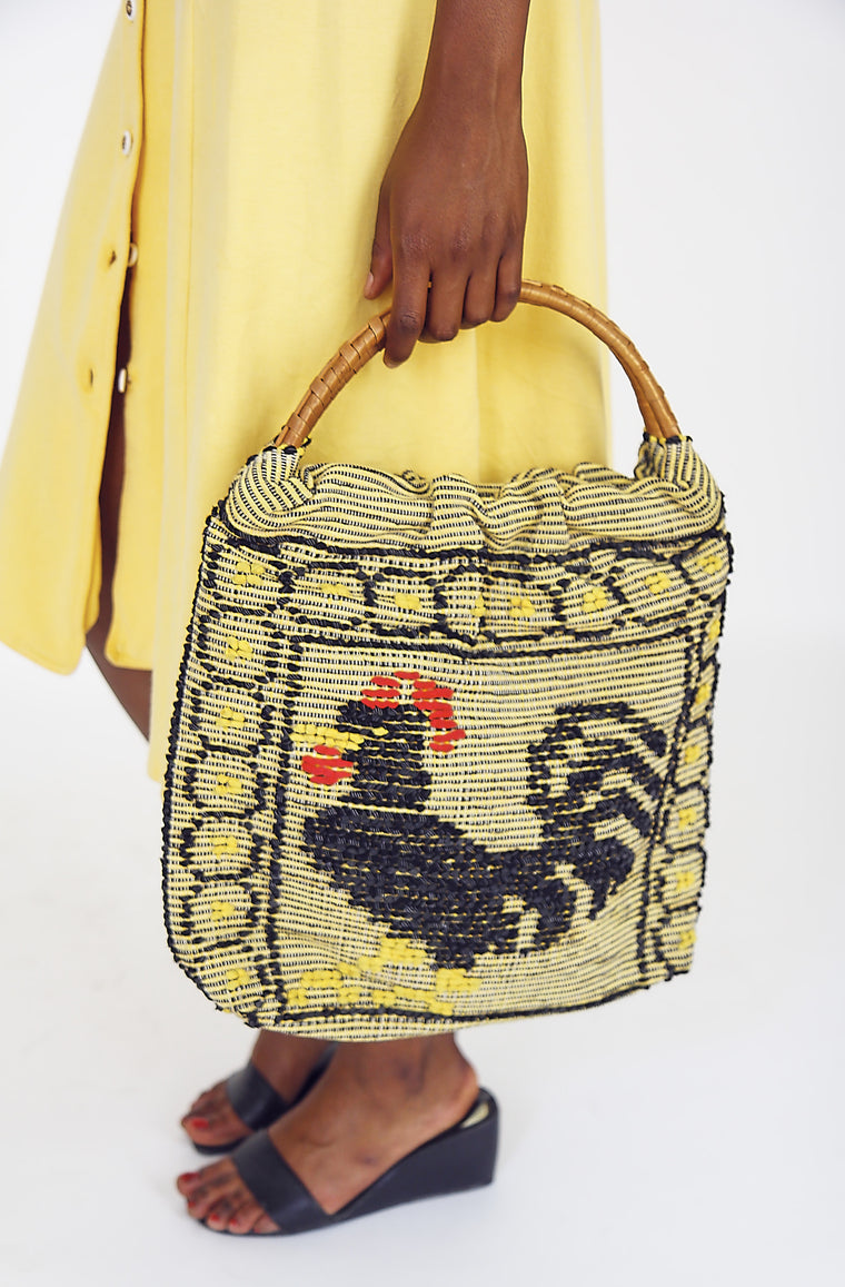 Folk Cockerel Cotton Basket Bag