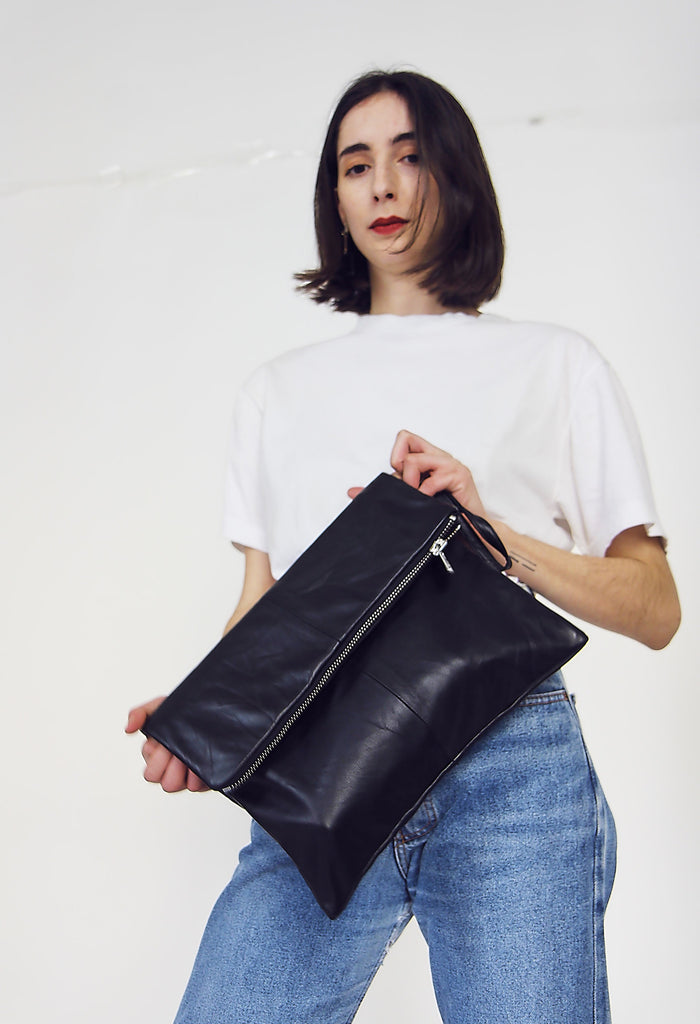 Black reclaimed 80s Leather Clutch Bag