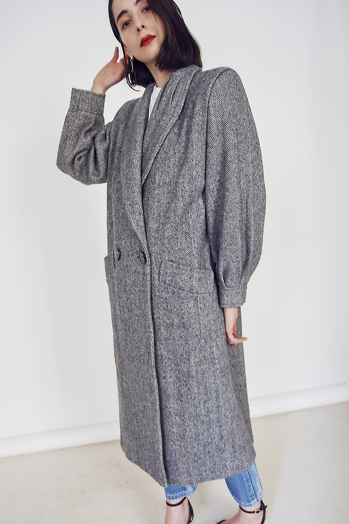 80s Herringbone Statement Coat