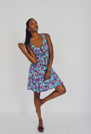 90s Cute Button Up Floral Print Dress