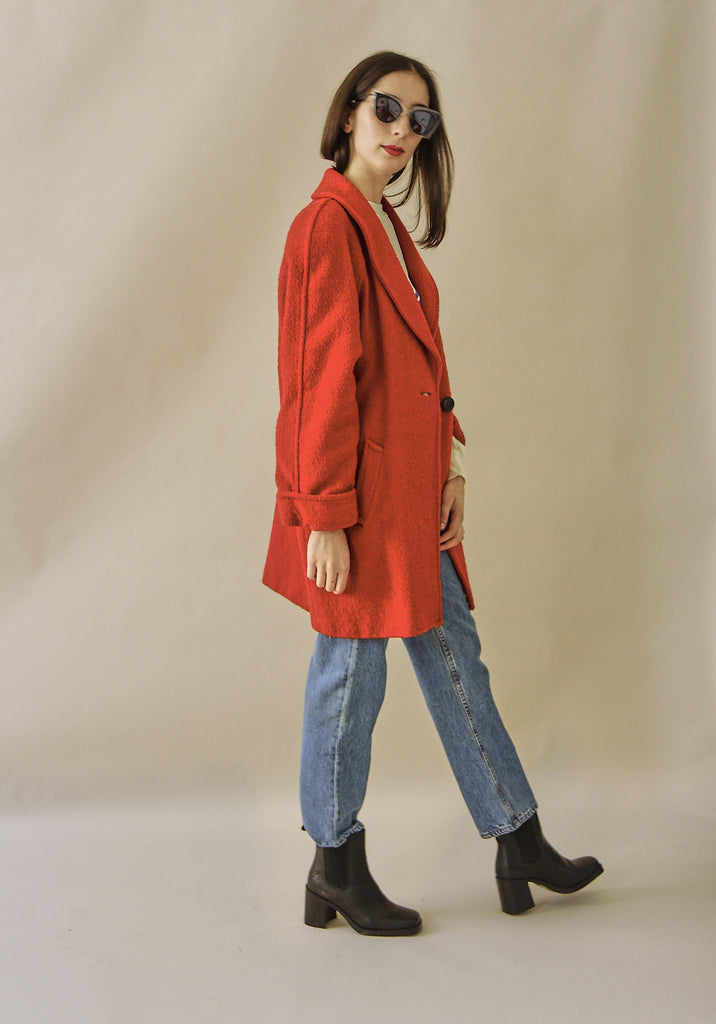 Vintage 80s Red statement wool coat