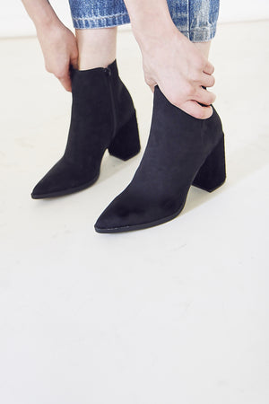 Vegan Black Textured Heel Boots