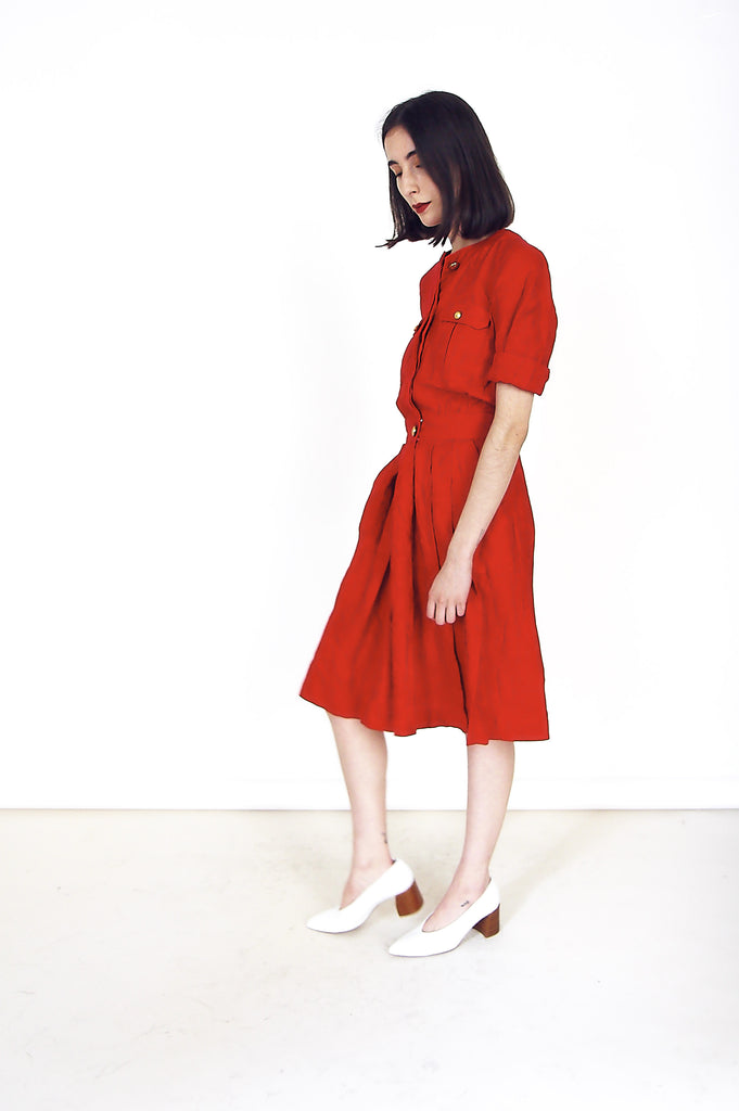 80s Red Cotton Midi Shirt Dress