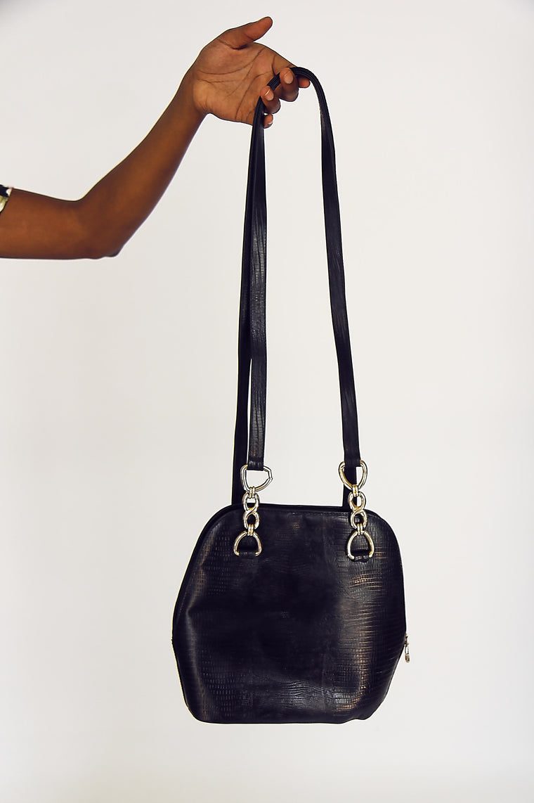 Vintage 90s Black Leather Pod Bag