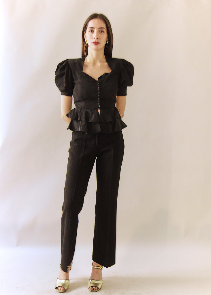 40s Black Taffeta Button Up Blouse