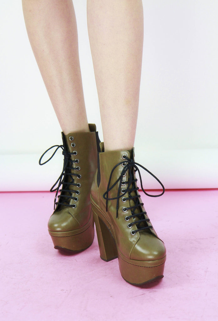 Opening Ceremony Lace-Up Plaform Boots
