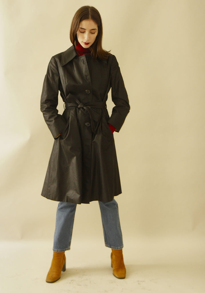 Vintage 70s Black Trench Coat