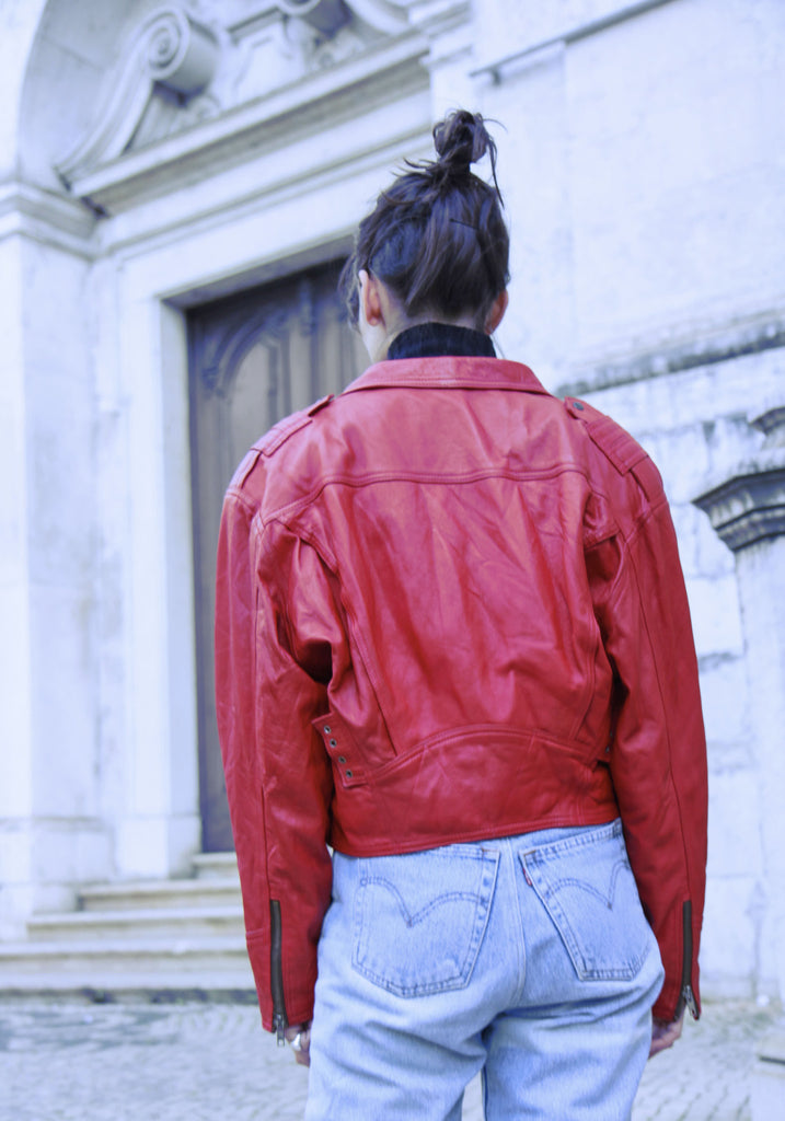 80s Red Leather Biker Jacket