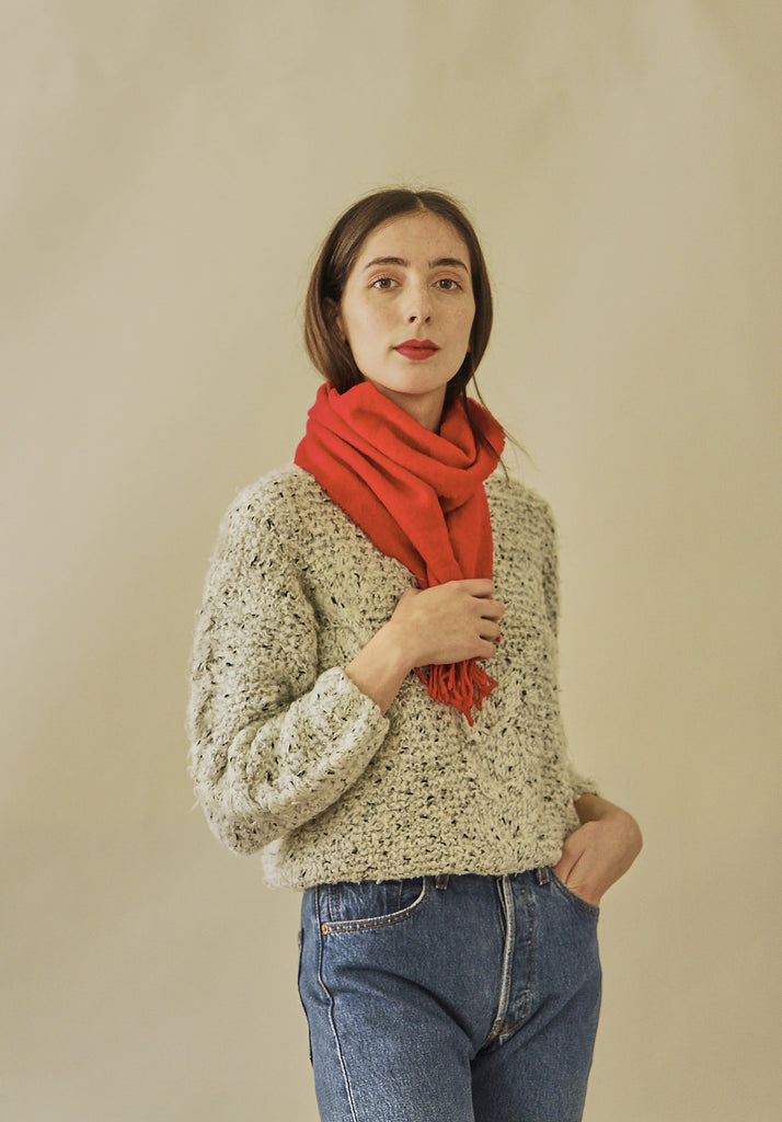 Vintage Tomato Red Lambswool Scarf