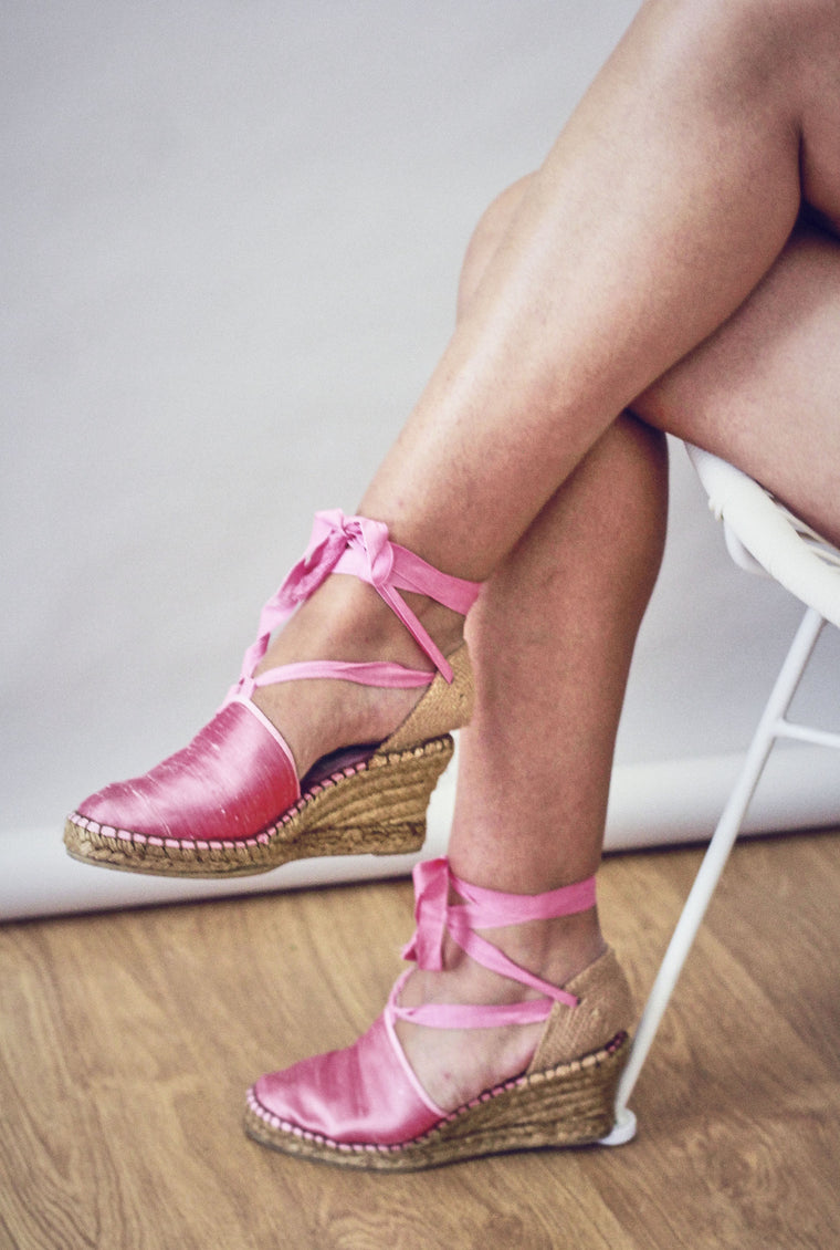 90s Pink Silk Lace Up Espadrilles