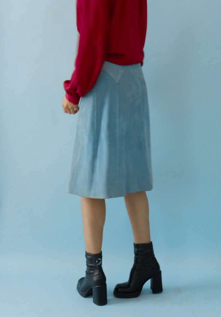 Vintage 70s Blue Suede Button Down Skirt