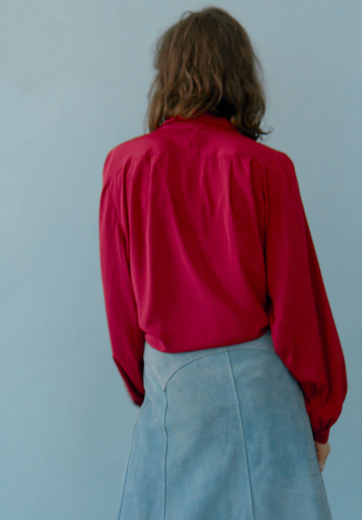 70's Vintage Silky Pretty Red Blouse