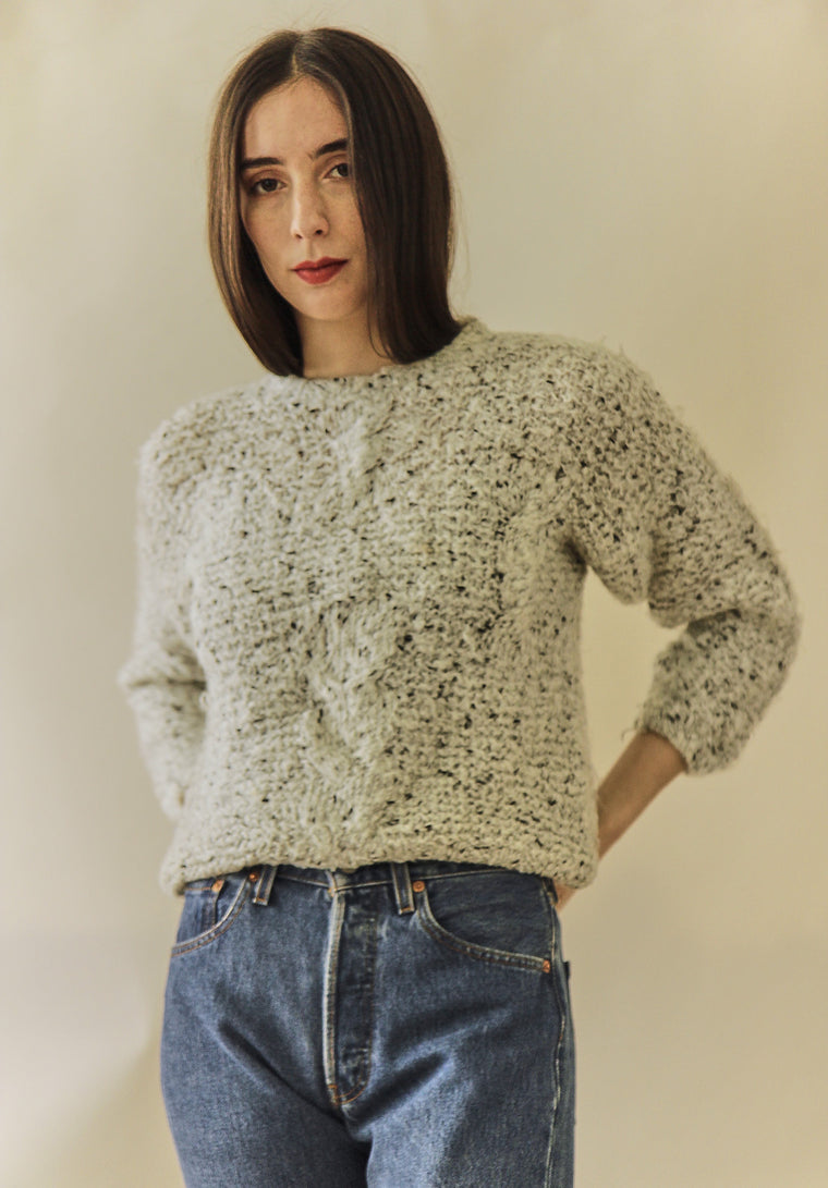 90s Salt and Pepper Chunky Knit Jumper
