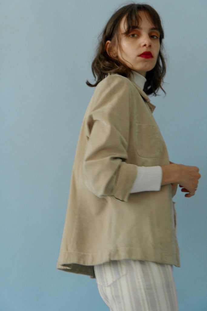 Vintage 90s Suede Oatmeal Box-Cut Jacket