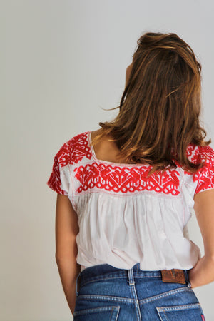70s Embroidered Peasant Top