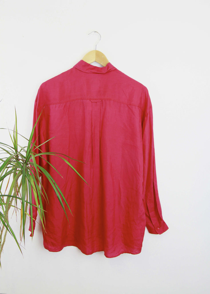 Vintage 90s Red Silk Shirt