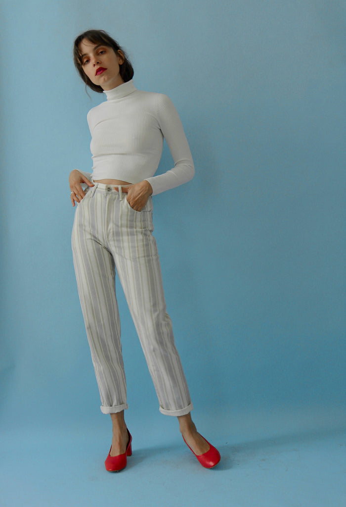 90's Striped High Waisted Jeans