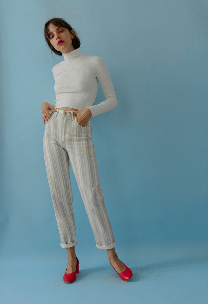 Vintage 90s Cropped Ribbed Roll Neck