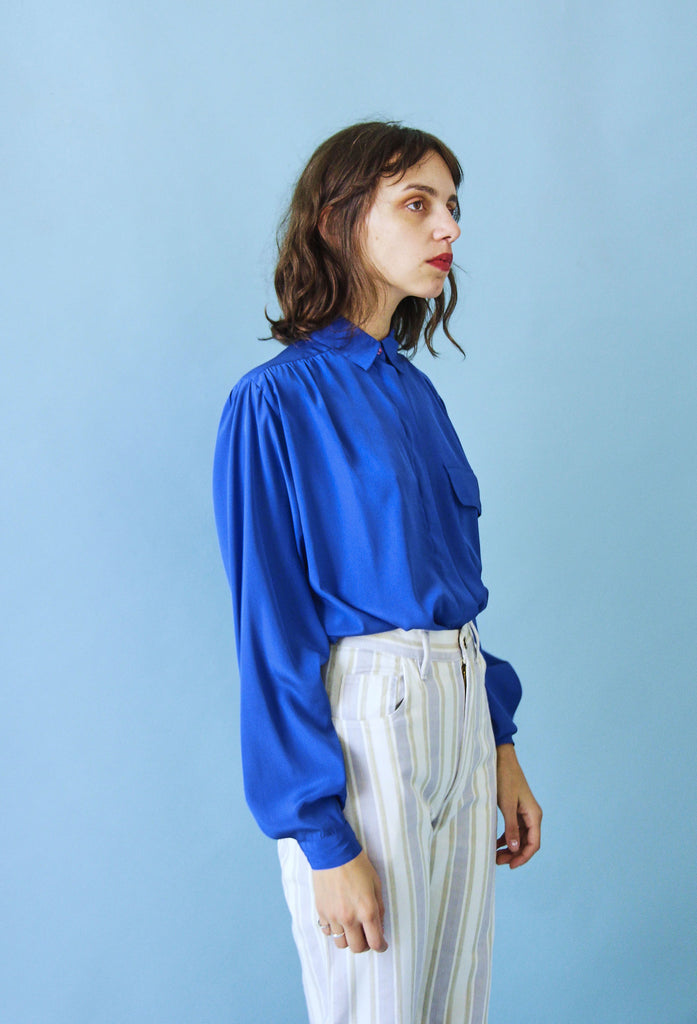 90's Colbolt Silky Button Up Blouse