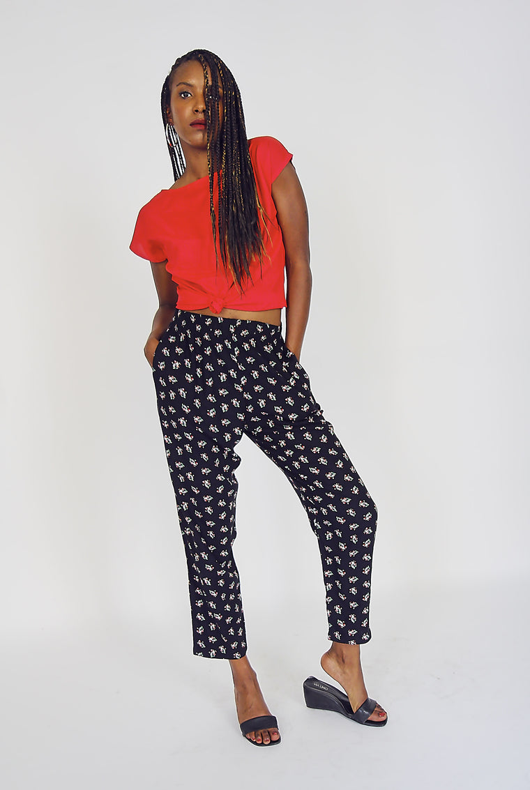 90s Vintage Ditsy Print Cotton Trousers