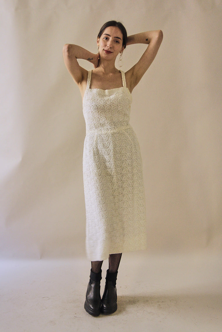 60's Vintage  White Lace Dress