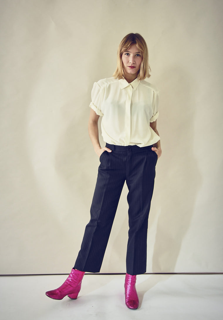 Vintage Navy Pinstriped Tailored Trousers