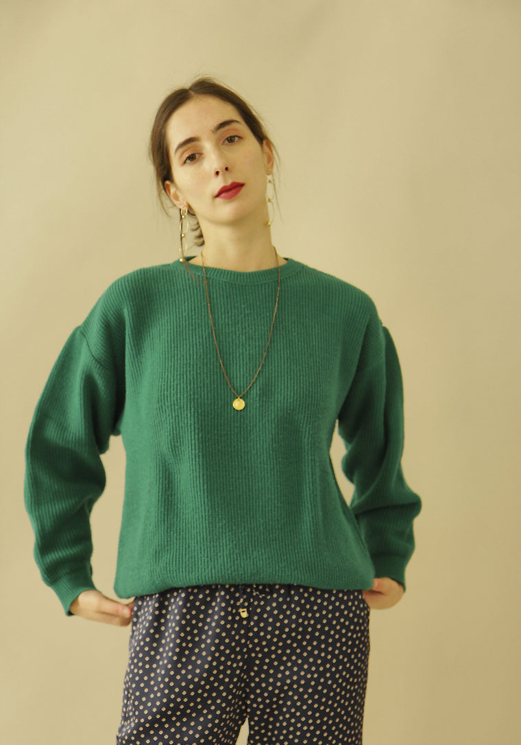 90s Vintage Bottle Green Neck Knit
