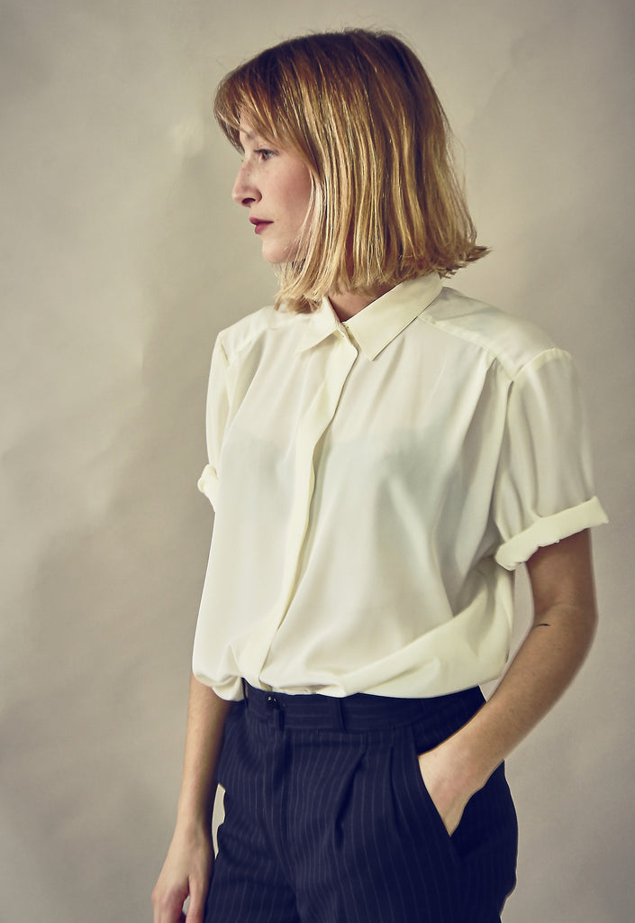 90's White Silky Button Up Blouse