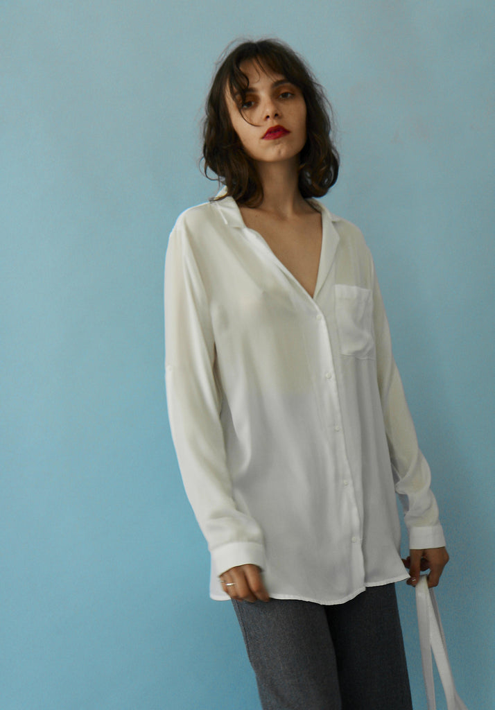 90s White silky Button Up Shirt