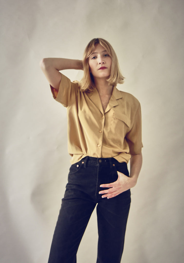 90's Sand Silky Button Up Blouse