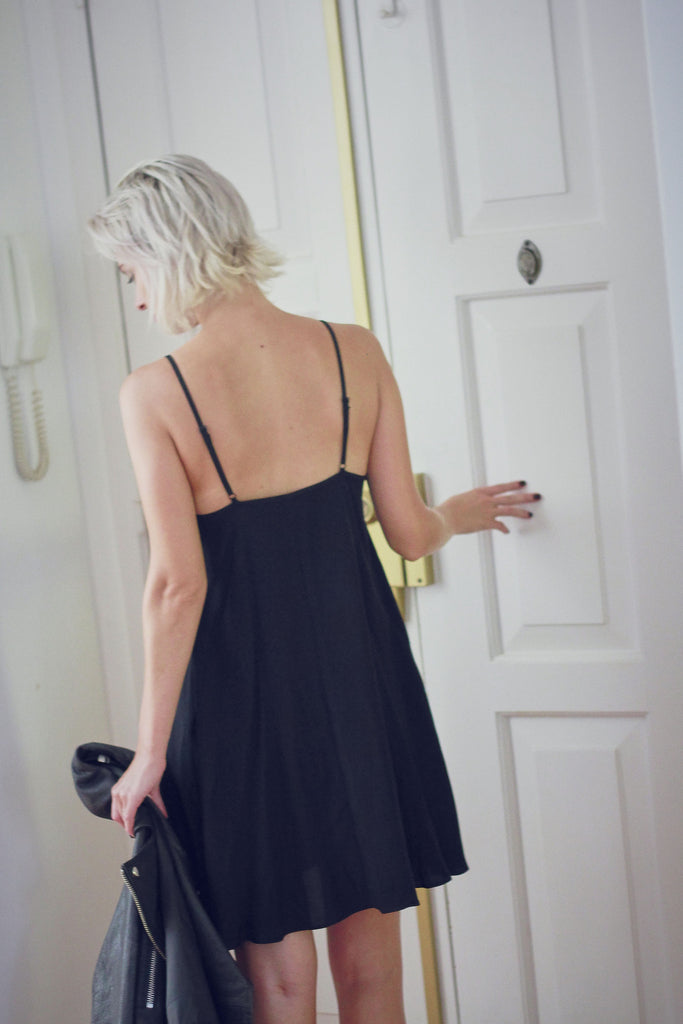 90s Black Slip Dress