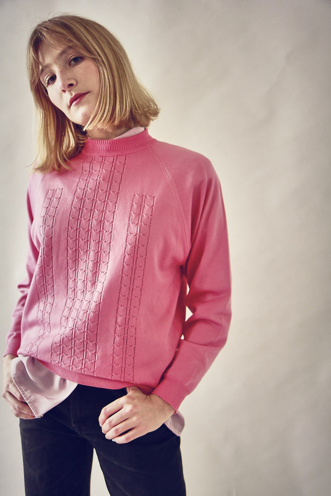 Vintage 70s Coral Crew Neck Fine Knit Top